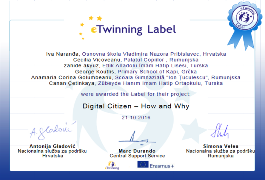 eTwinning project Digital Citizen - How and Why