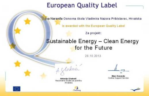 EUROPEAN QUALITY LABEL - SUSTAINABLE ENERGY - CLEAN ENERGY FOR THE FUTURE